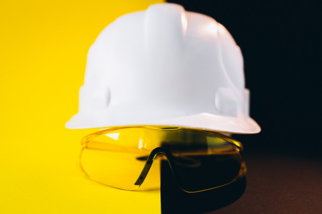 personal protective equipment hardhat and safety glasses