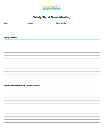 Safety Stand Down Meetings Form