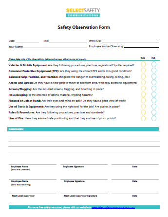 Safety Observation Forms